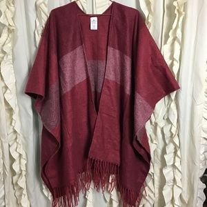 Woolrich Maroon Large Plaid Blanket Poncho Cape